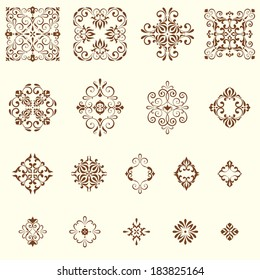 Vector arabesques and swirl ornate rosettes. Elements can be ungrouped for easy editing.