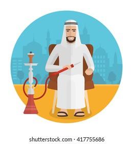 Vector arabian man smoking hookah. Smoking cartoon man sitting in an armchair on flat islamic city background. Retro flat design illustration