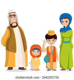 Vector arabic family in national clothes. Parents, children in muslim costumes, islamic clothing. People in hijab, turban, skullcap, robe. Happy arab husband, wife with kids.