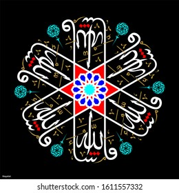 Vector Arabic Mashallah. Translate: 1 - Hullo. 2 - God has willed it.  Wall panel, gift card, decorative materials, mosques and houses can be used as tableau. EPS format vector drawing.