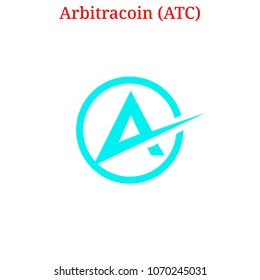 Vector Arbitracoin (ATC) digital cryptocurrency logo. Arbitracoin (ATC) icon. Vector illustration isolated on white background.