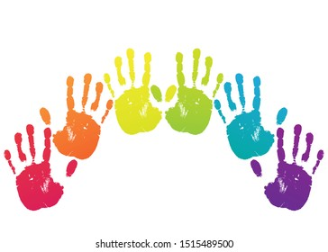 Vector arc, rainbow with different color imprint, trace, stamp from the colourful human hand