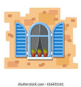 Vector arch window with blue shutters, transparent curtains with spots and flower pots on a brick wall. Cartoon house element. Cute summer illustration. European street