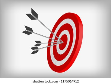Vector : Archery targets and arrows on gray background