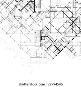 Vector architectural black and white background with plans of building (see jpg version in my portfolio)