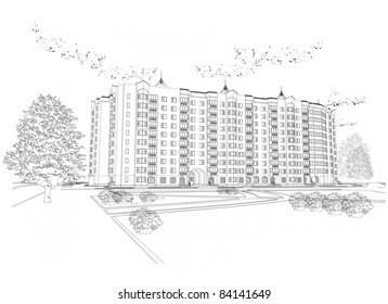 Vector architectural black and white background (see jpeg version in my portfolio)