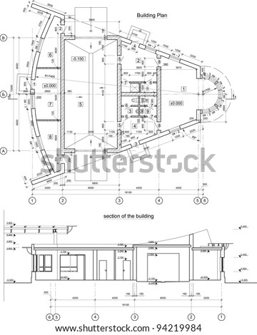 Vector Architectural Black White Background Stock Vector Royalty