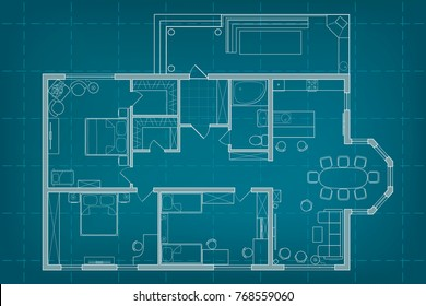 Vector blueprint floor plan long studio stock vector 2018 vector architectural blueprint top view floor plan of the house layout and furniture on background malvernweather Choice Image