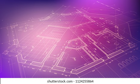 vector architectural plan - abstract architectural blueprint of a modern residential building / technology, industry, business concept illustration: real estate, building, construction & architecture