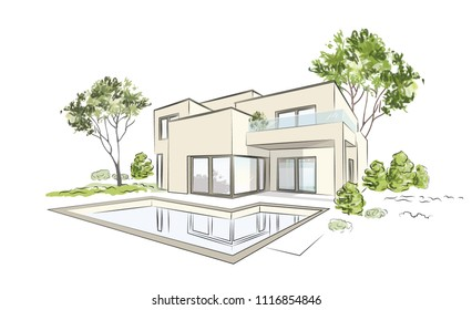Vector architectural sketch modern exclusive house.