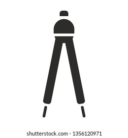 Vector architecture campass icon. Work tool  monochrome flat symbol isolated. Compass sign, logo illustration.