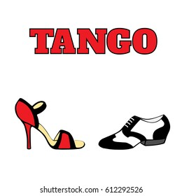 Vector argentine tango dancing shoes poster. Men's shoe in black and white, 20s style; women's shoe high heel, red and black; with word tango. Poster, postcard, milonga invitation.