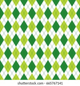 Vector Argyle seamless pattern in soft and dark green colors with stitching. Seamless Argyle pattern. Diamond shaped background. Checkered seamless pattern.