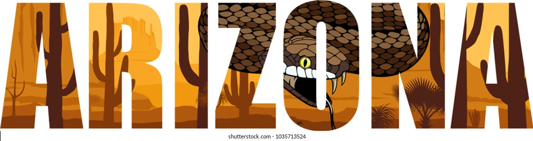 vector Arizona - American state word with  rattlesnake in desert