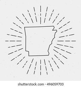 Vector Arkansas Map Outline with Retro Sunburst Border. Hand Drawn Hipster Decoration Element. Black Radiant Light Rays on White Background.