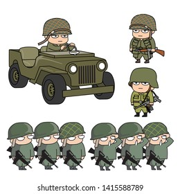 Vector army set for illustration.