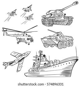 Vector Army Vehicles Sketch Set | Black and White army hand painted detailed technique
