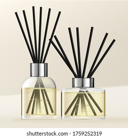 Vector Aromatic Diffuser with Pastel Yellow Scented Oil & Black Reeds
