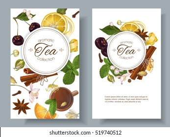Vector aromatic tea banners with cherry, lemon and cinnamon. Design for tea shop, drinks menu, baking, candy and sweets, health care products, aromatherapy. Best for tea packaging design