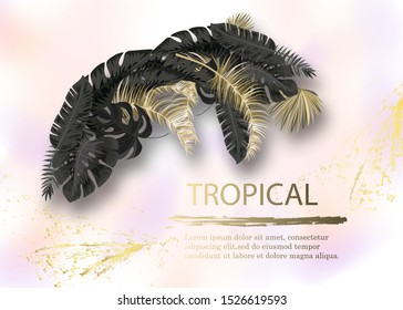 Vector arrangement with black and gold tropical leaves on dark background. Luxury exotic botanical design for cosmetics, spa, perfume, aroma, beauty salon.