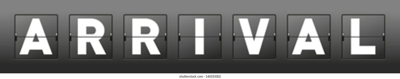 vector arrival word of mechanical scoreboard alphabet