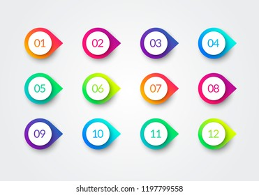 Vector Arrow Bullet Point Colorful Gradient 3d Markers With Number 1 To 12