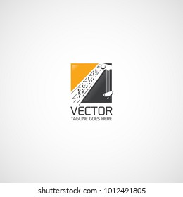 Vector arrow of a construction crane logo.