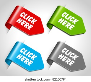 Vector arrow stickers set with click here message. Eps 10