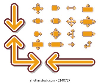 Vector arrows and arrow signs. Scale to any size and change colors easily.