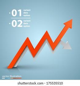 Vector arrows business growth Arrows business art info. Profit red arrow, Vector illustration