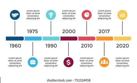 Vector arrows circles timeline infographic, diagram chart, graph presentation. Business infographics progress concept with 7 options, parts, steps, processes.