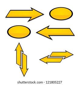 vector arrows. golden arrows icon set.