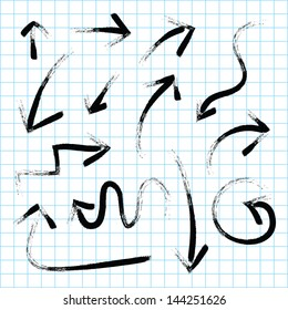 Vector arrows hand drawn paint ink grunge set design