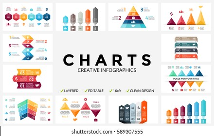 Vector arrows infographic, diagram chart, graph presentation. Business report with 3, 4, 5, 6, 7, 8 options, parts, steps, processes. Triangles, pyramid, timeline. Growth success infographics bundle.