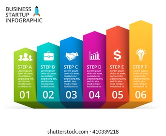 Vector up arrows infographic, diagram, graph, performance presentation, increase chart. Business progress concept with 6 options, parts, step by step, process. Infographic growth data lines template.