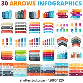 Vector up arrows infographic, diagram, graph, presentation, competition chart. Business performance concept with 3, 4, 5, 6, 8 options, parts, steps, processes. Infographics growth data pedestal.