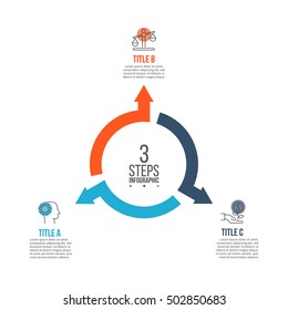 Vector arrows infographic. Template for cycle diagram, graph, presentation and round chart. Business concept with 3 options, parts, steps or processes. Data visualization.
