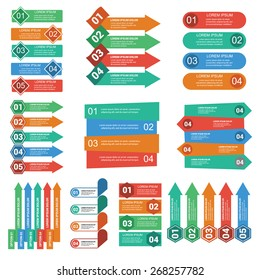 Vector arrows lines infographics set. Template for diagram, graph, presentation and chart. Business concept with 4 and 5 options, parts, steps or processes. Abstract background. Modern options banner