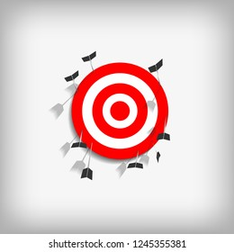 Vector : Arrows with miss archery target on gray background