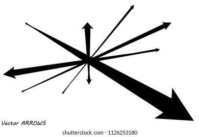 Vector arrows shapes isolated over white background, directions concept, arrows illustration set, cursor outlines