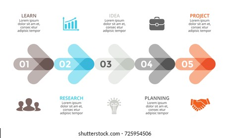 Vector arrows timeline infographic, diagram chart, graph presentation. Business infographics progress concept with 5 options, parts, steps, processes.