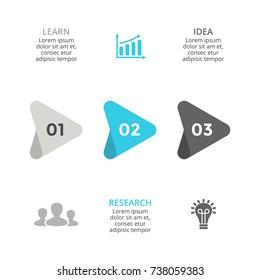 Vector arrows timeline infographic, diagram chart, graph presentation. Business infographics progress concept with 3 options, parts, steps, processes.