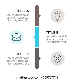 Vector arrows timeline infographic, diagram chart, graph presentation. Business progress infographics concept with 3 options, parts, steps, processes.