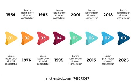 Vector arrows triangles timeline infographic, diagram chart, graph presentation. Business progress infographics concept with 8 options, parts, steps, processes.