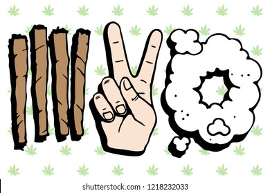 Vector art 4:20 marijuana celebratio, n time to smoke weed. Cannabis joints, two fingers up gesture and cloud of marijuana smoke. Many green leaves on background.