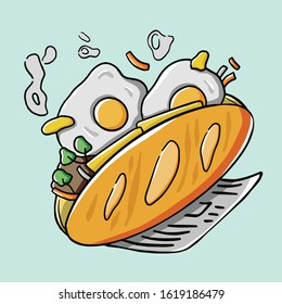 Vector art of banh mi in Vietnam. Vietnamese traditional bread with eggs and butter. Street food in HaNoi.