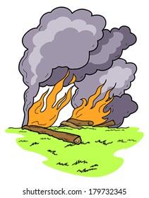 Vector Art: burning logs, wild fire, and dark smoke