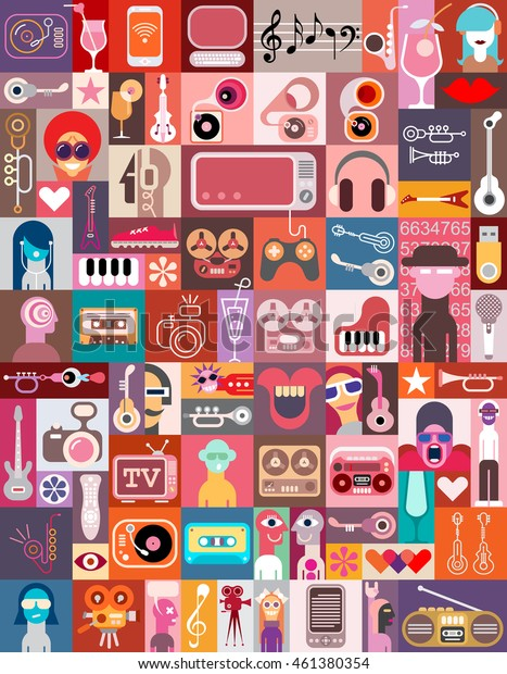 Vector art collage of various images with a musical and entertainment themes.