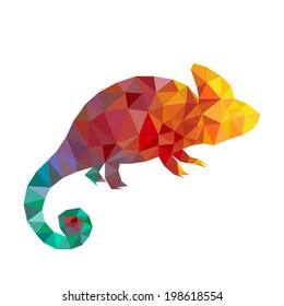 Vector art colorful geometric chameleon. Contemporary spectrum abstract background illustration. Animal lizard isolated on white.