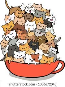 vector art cute cats